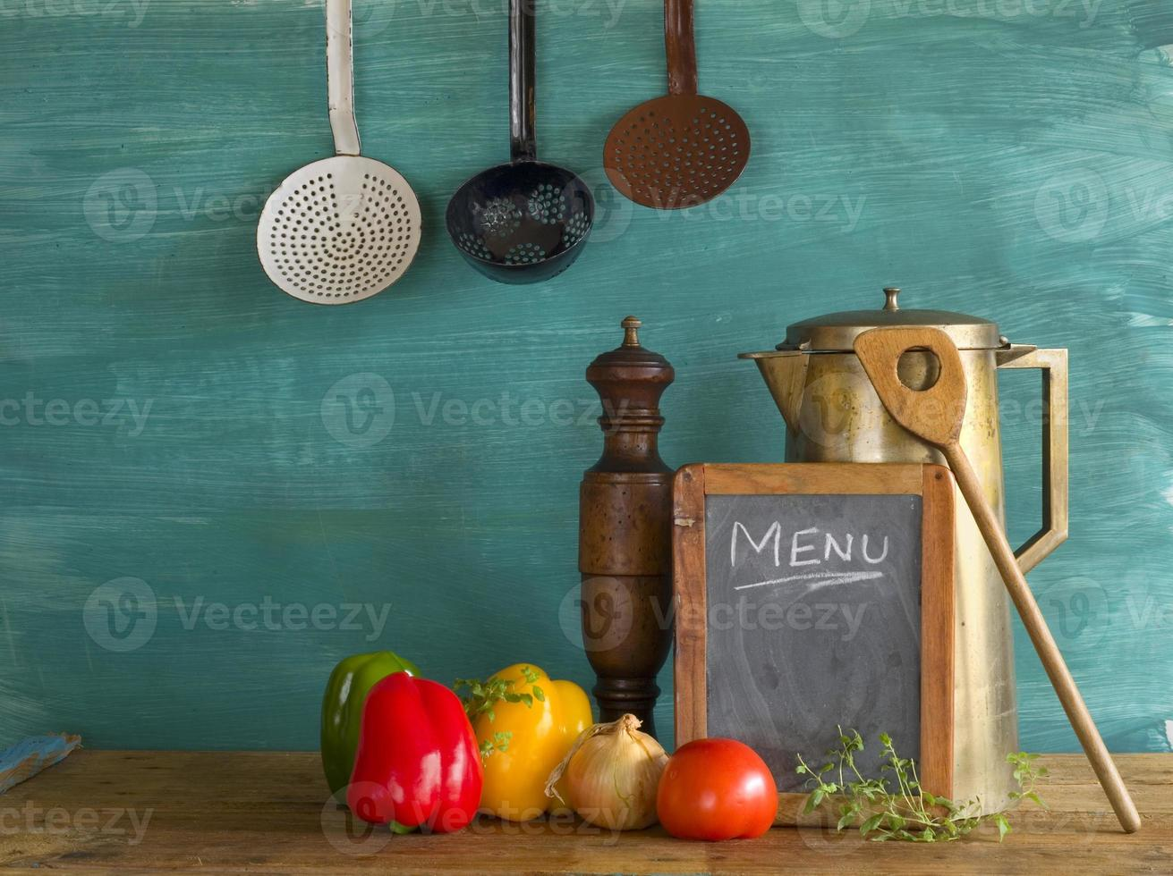 menu w. ingredienti alimentari, ricette di cucina foto