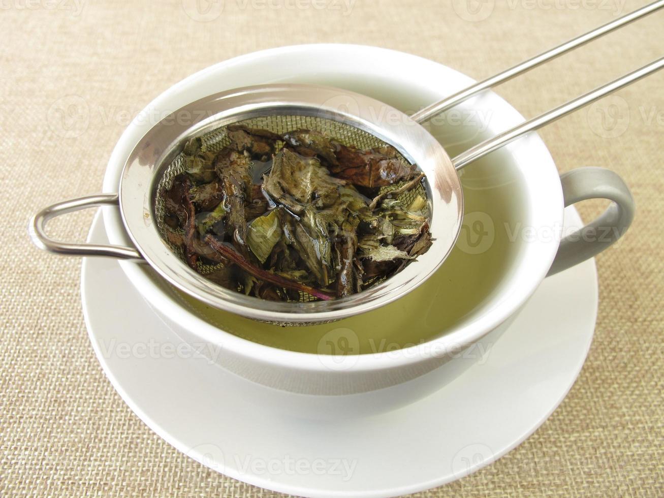 tè alla menta piperita in colino da tè foto