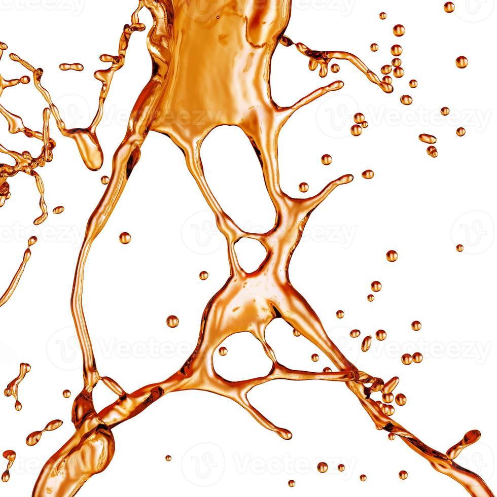 spruzzi di liquidi; alcool, tè, cola ... foto
