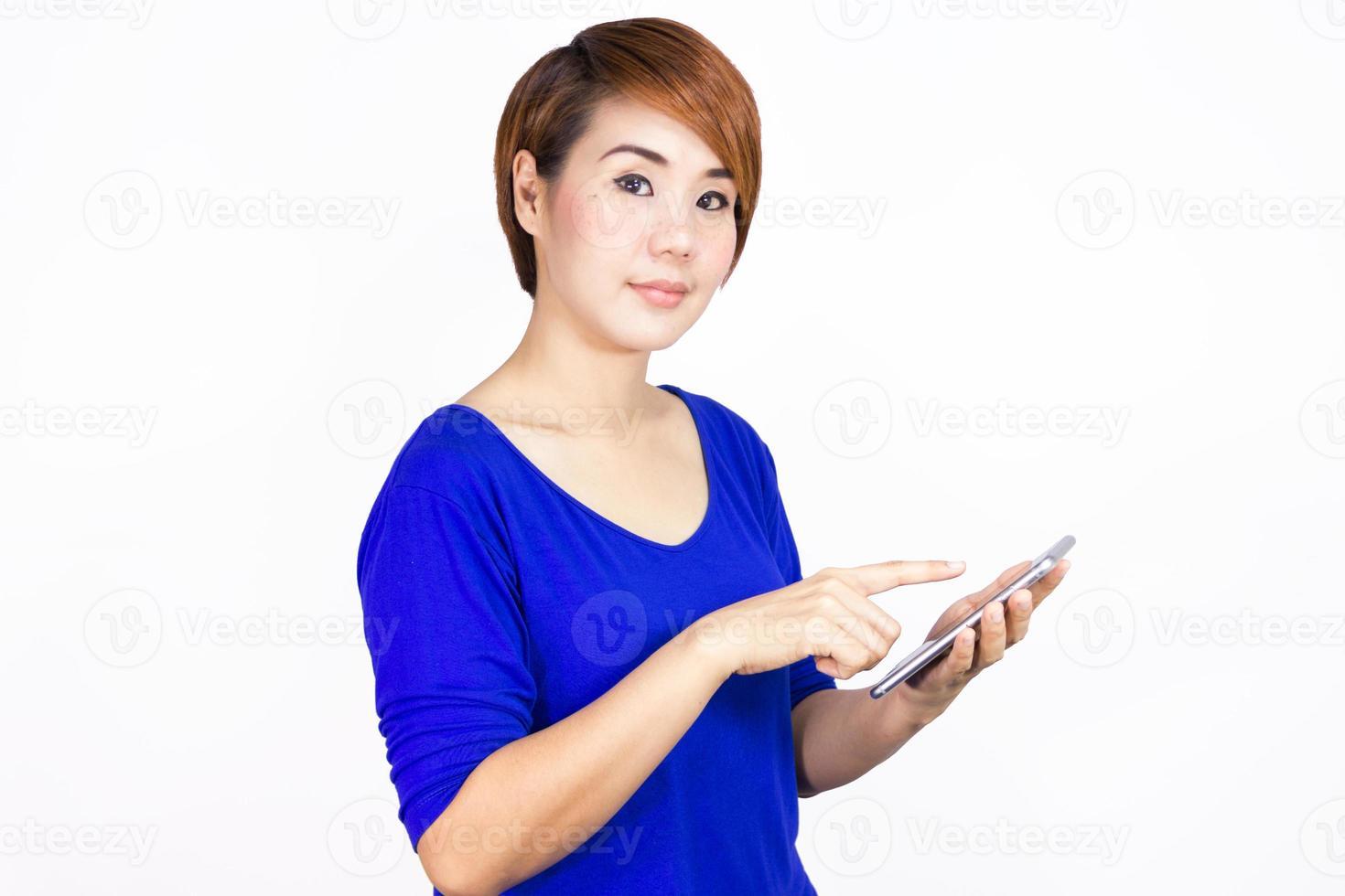 donna con il suo telefono foto
