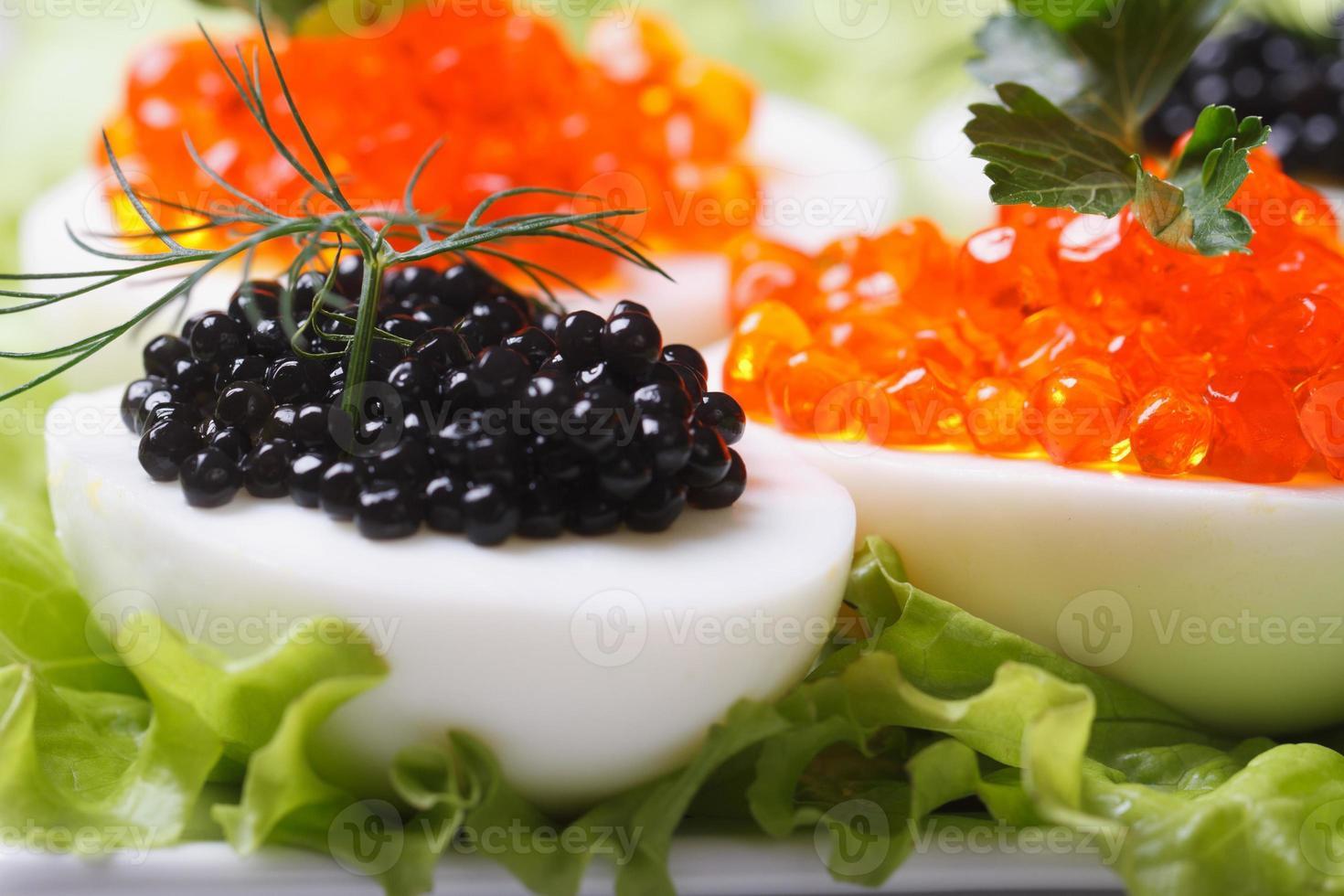 uova con caviale di pesce nero e rosso e macro di lattuga foto