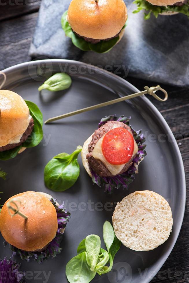 cibo da pub, mini hamburger di manzo foto