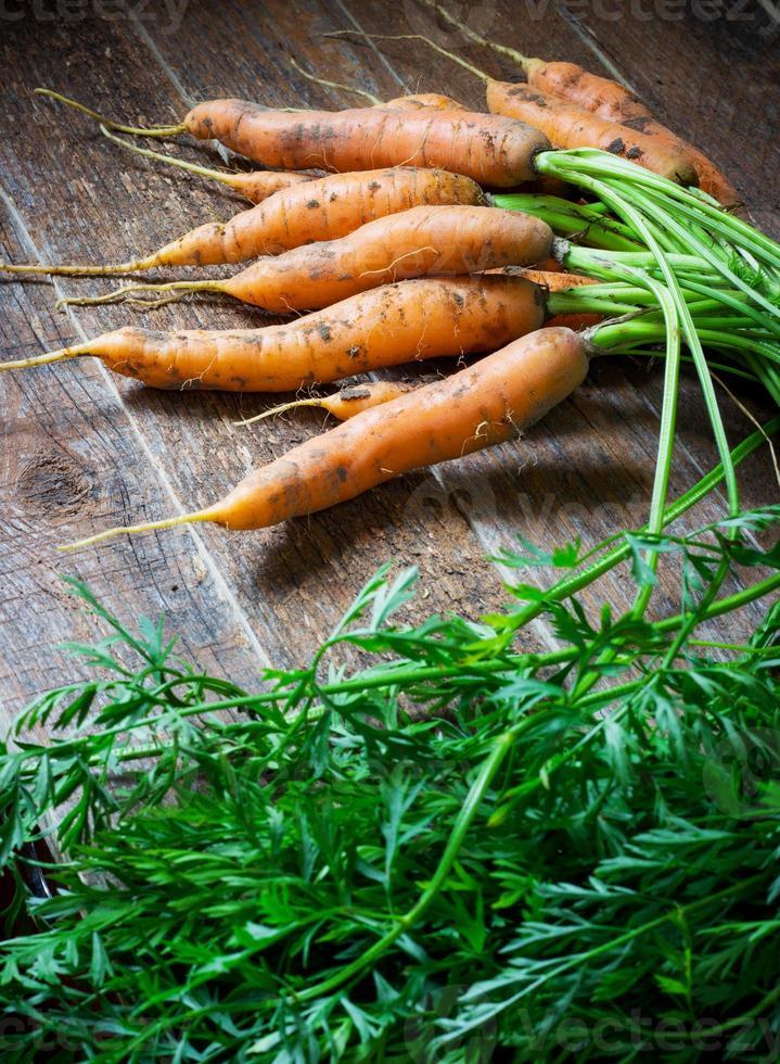 carote fresche organiche su fondo di legno. foto