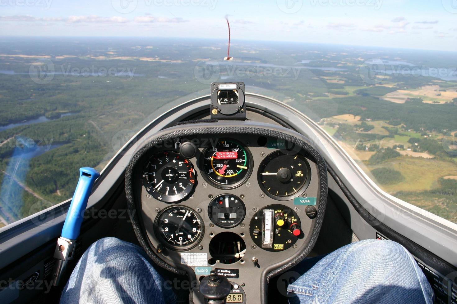 cabina di pilotaggio dell'aliante foto