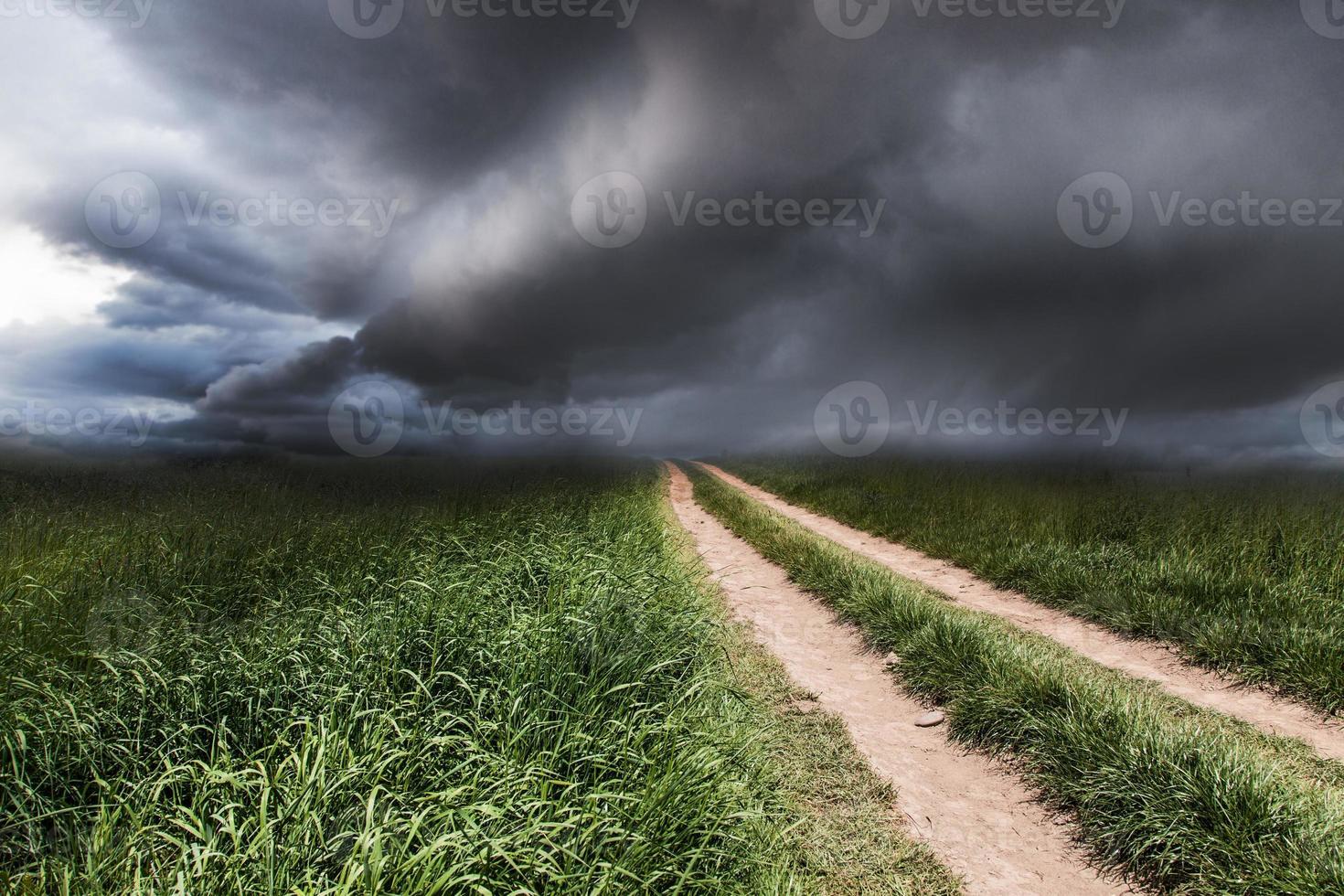 paesaggio drammatico con una strada rurale foto