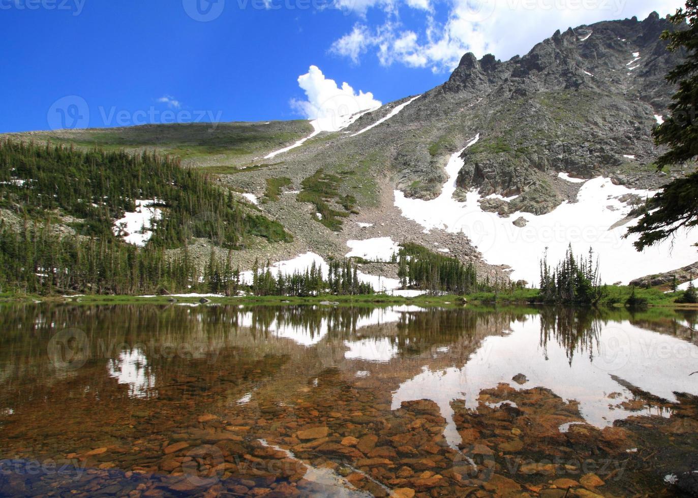 tranquillo lago di montagna foto