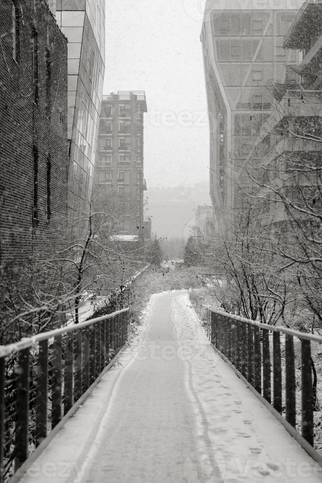 Manhattan highline in inverno, New York foto