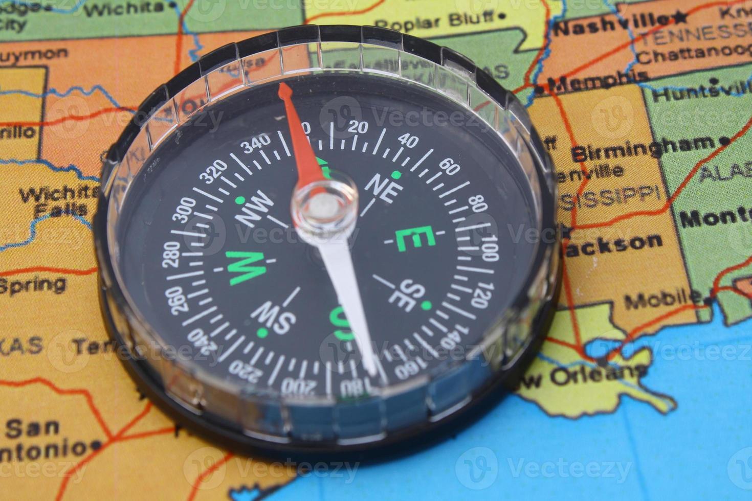 bussola sulla mappa degli Stati Uniti foto