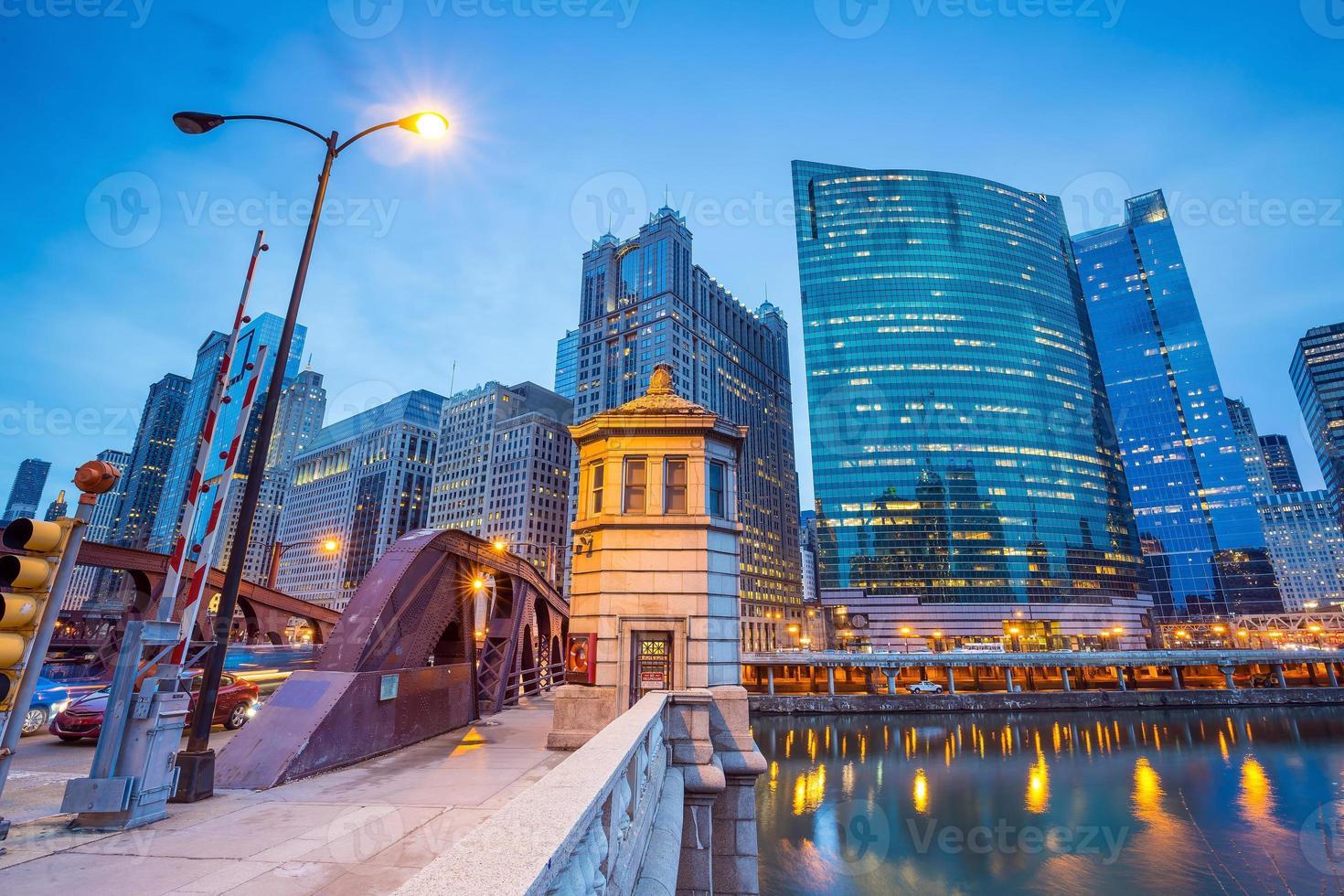Chicago Downtown e Chicago River foto