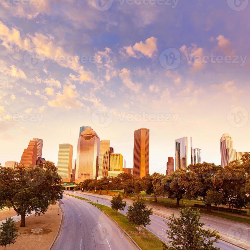 houston skyline sunset da allen pkwy texas us foto
