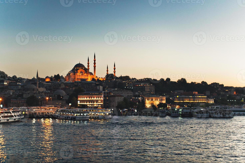 corno dorato di tramonto di Costantinopoli foto