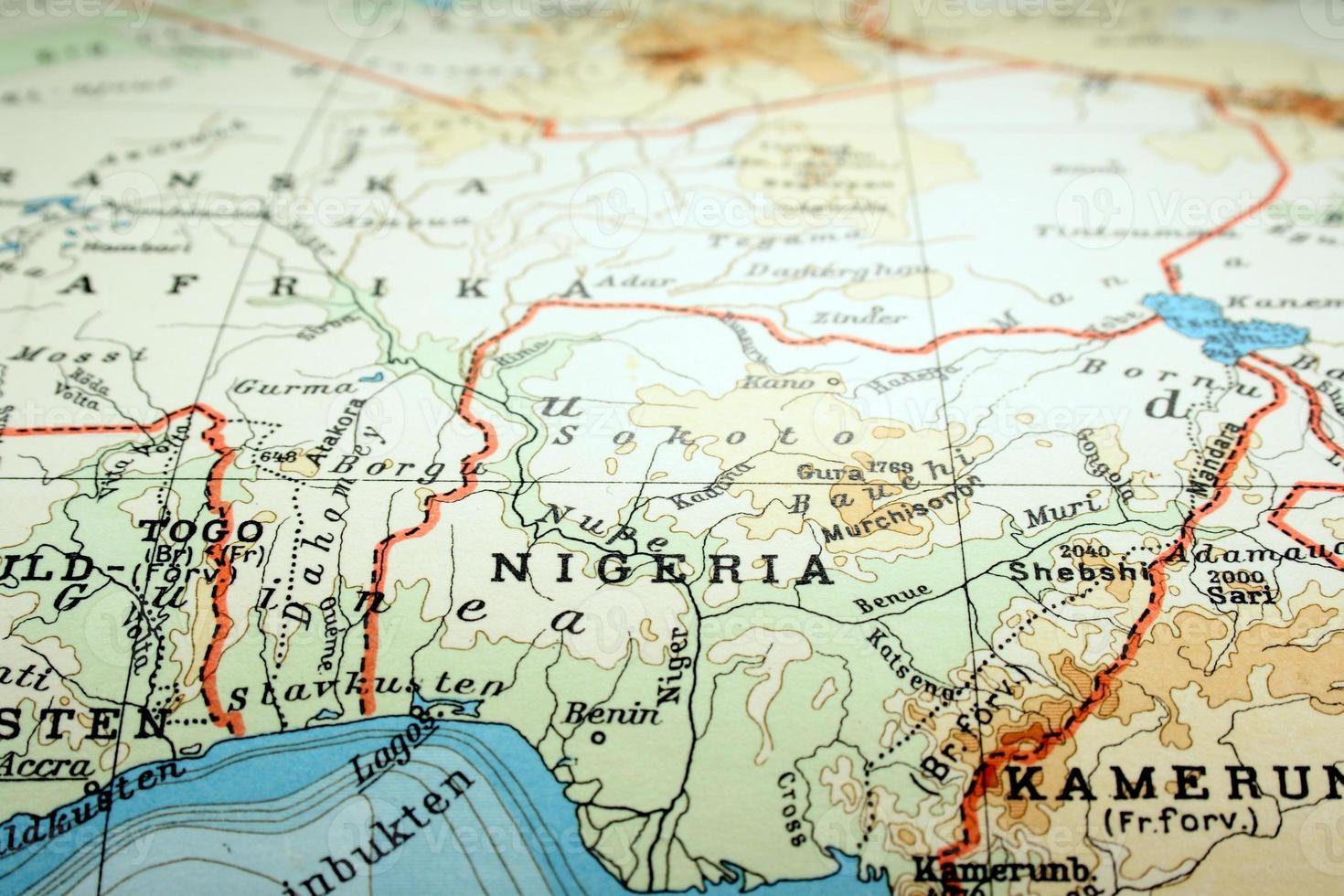 mappa del mondo incentrata sul paese della nigeria foto