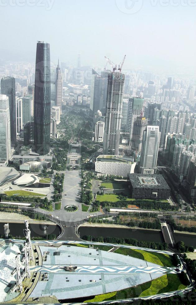 vista dalla torre del cantone alla città di Guangzhou foto