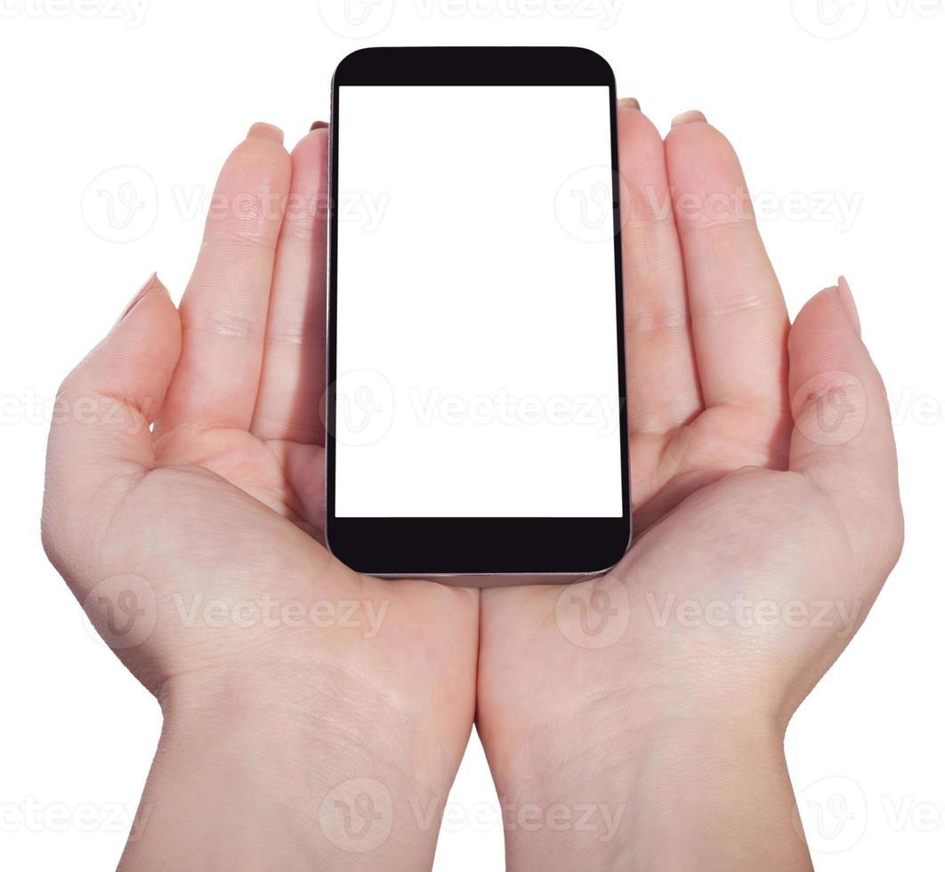 smartphone in mani femminili, isolato foto