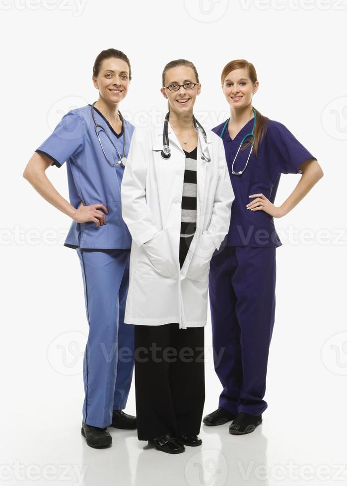 gruppo di operatori sanitari femminili. foto