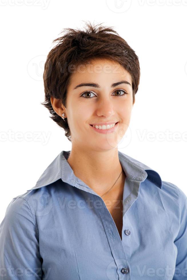 responsabile femminile sorridente su fondo bianco foto