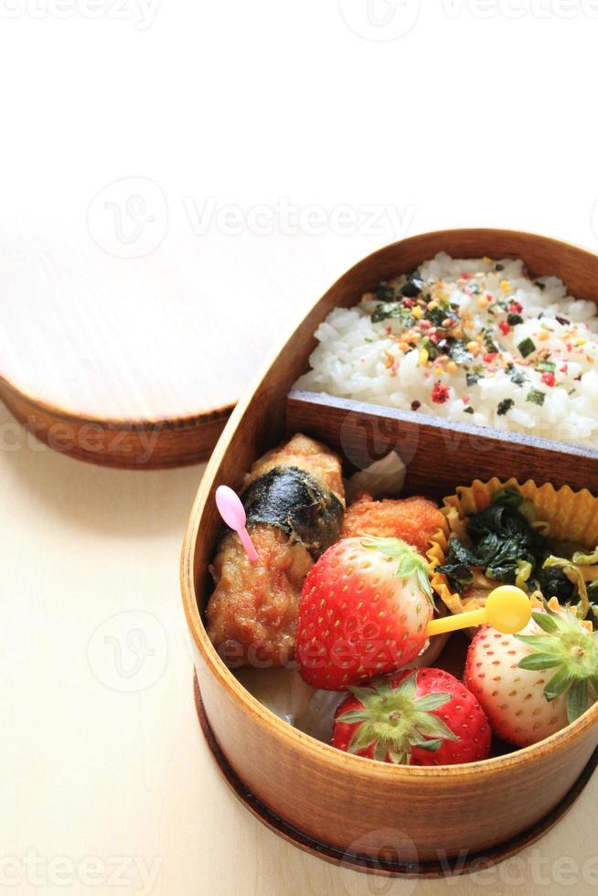 cibo giapponese, pranzo al sacco fatto in casa foto
