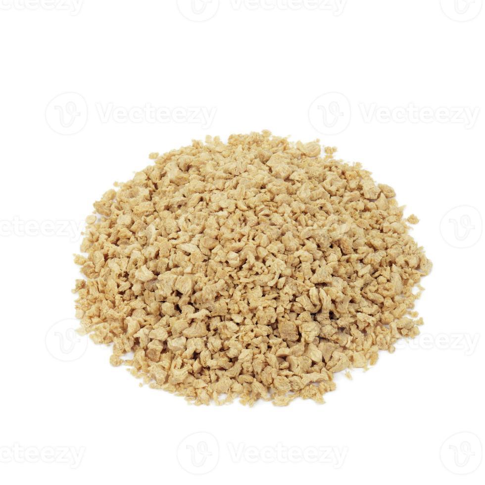 la proteina di soia trita su fondo bianco foto