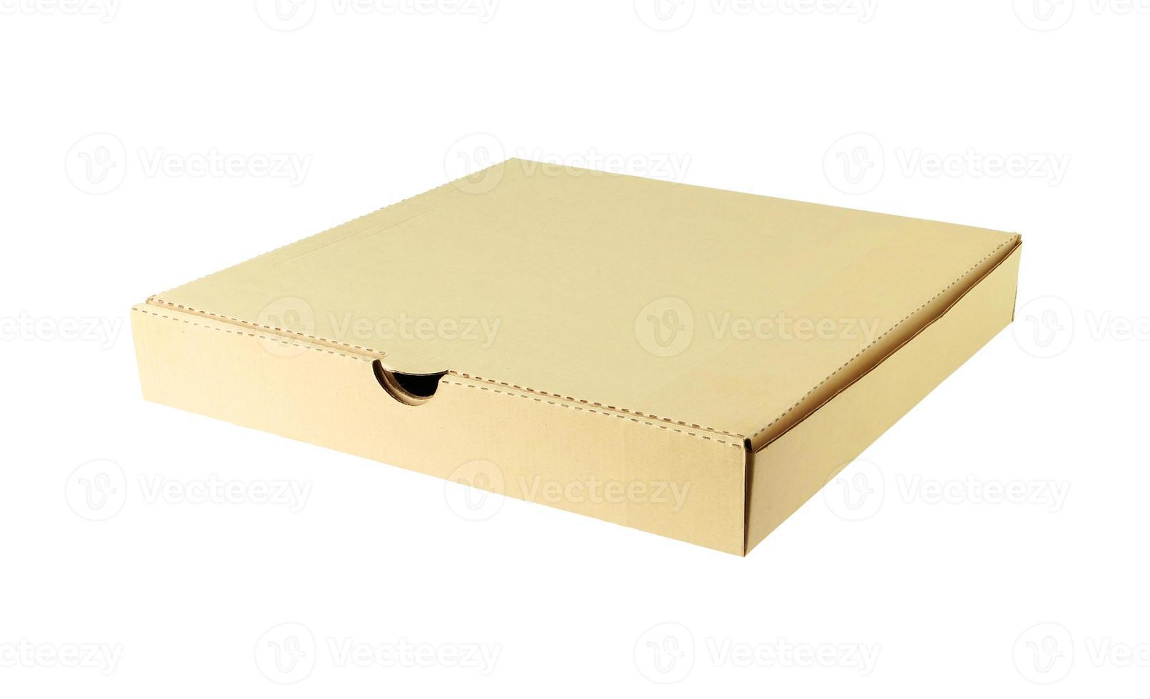 scatola della pizza isolata su fondo bianco foto
