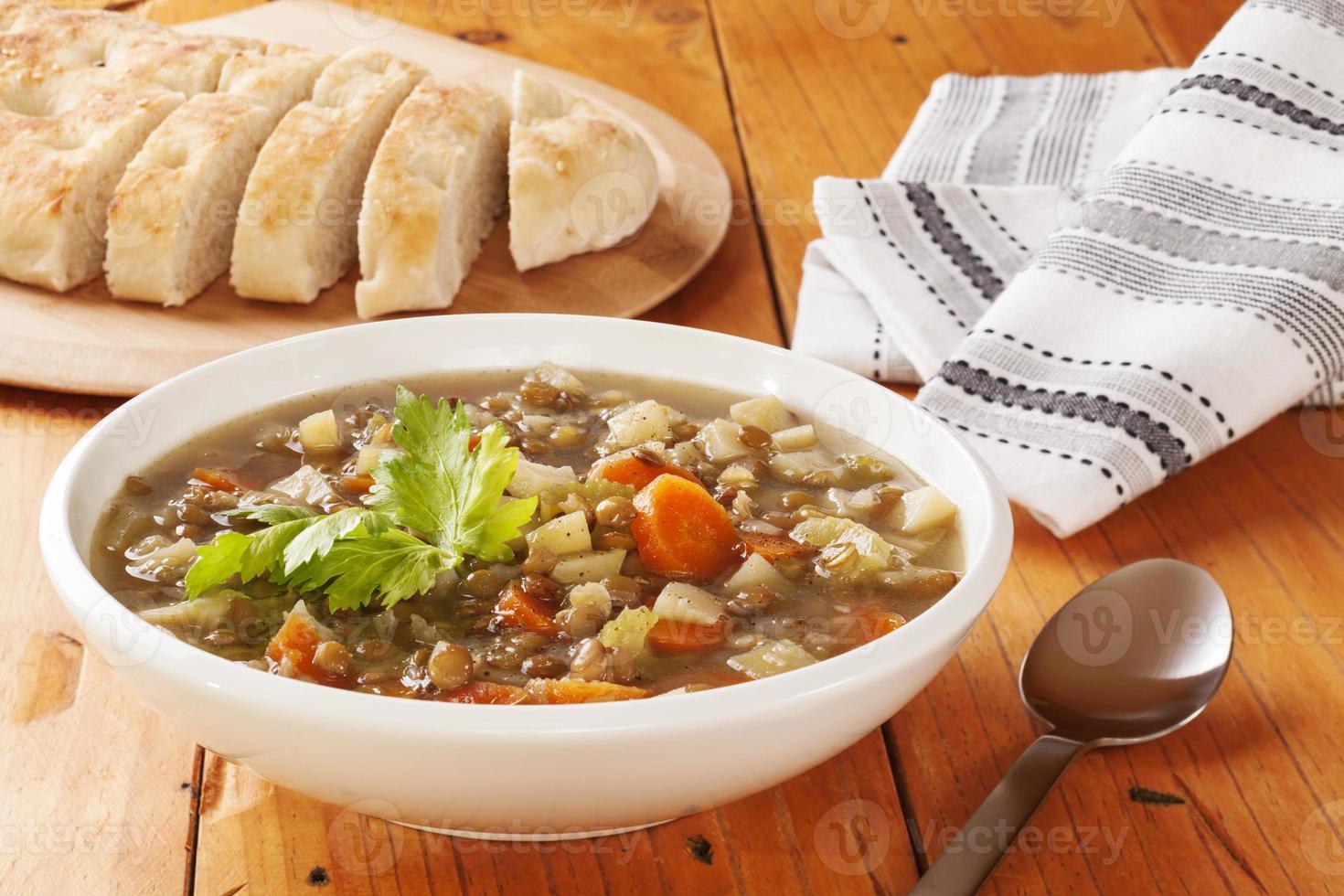 zuppa di lenticchie verdi foto