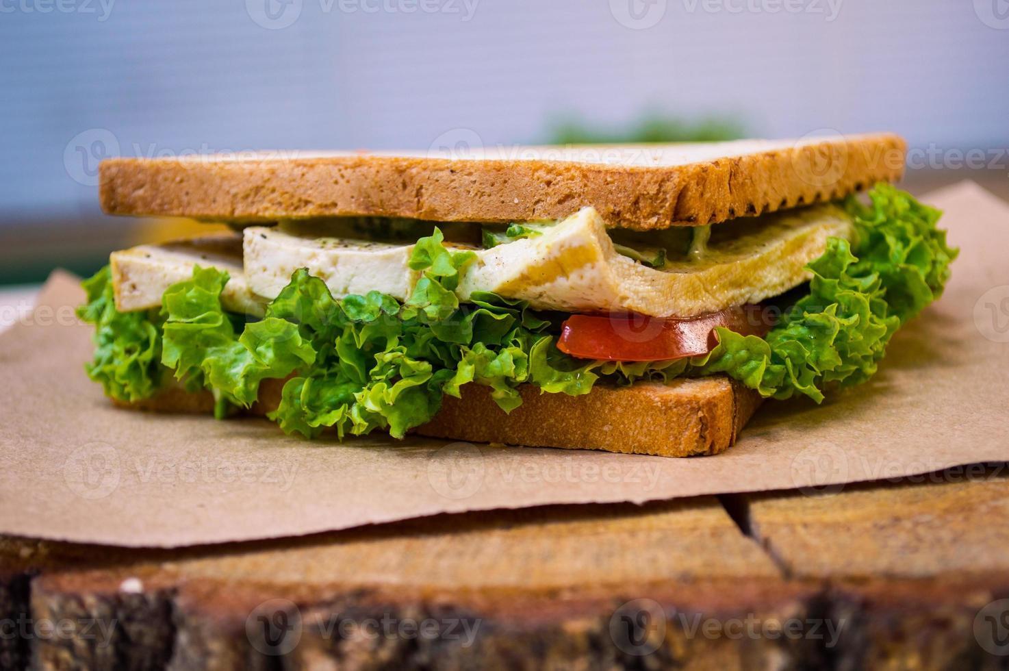 sandwitch vegano con tofu foto