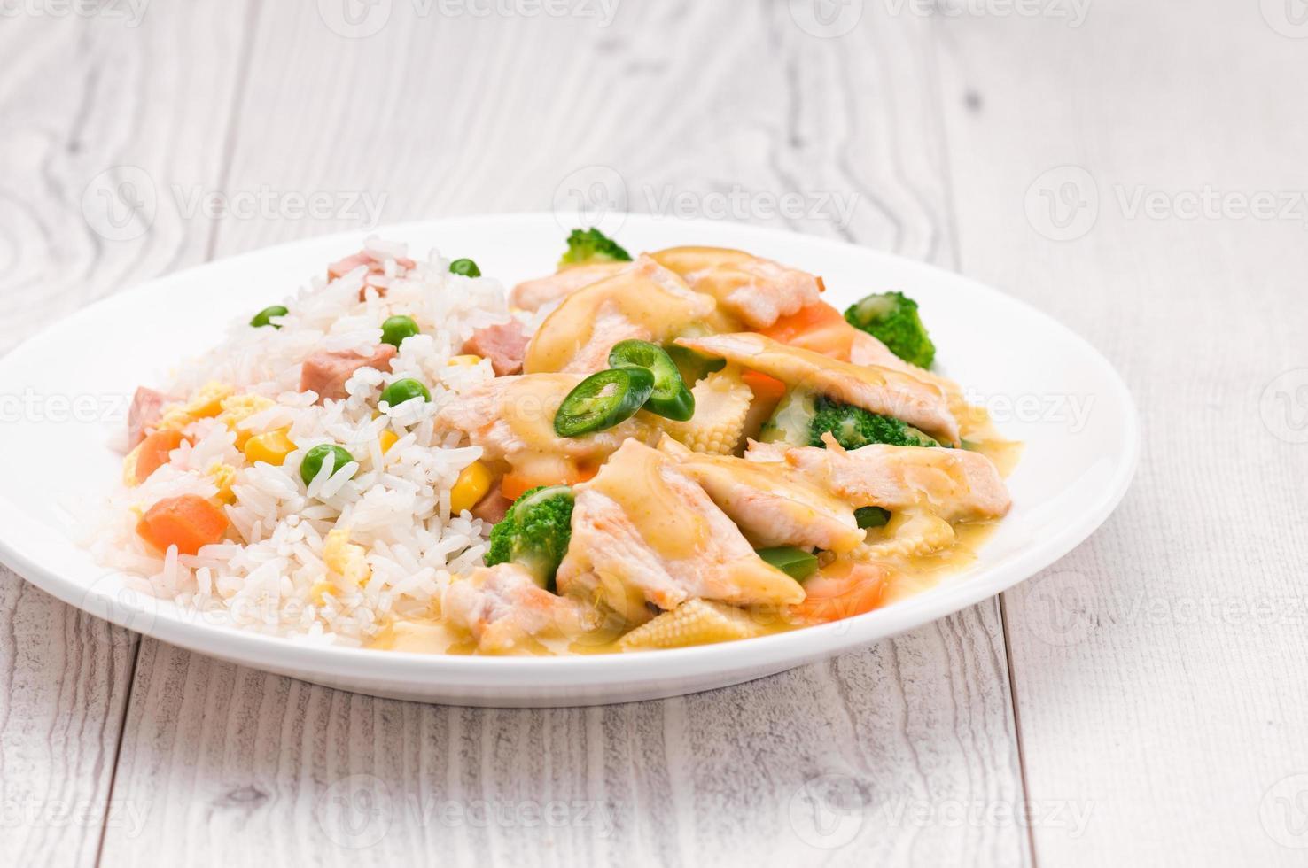 piatto di curry verde tailandese foto