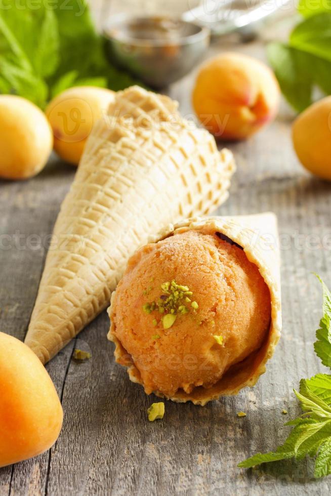 gelato artigianale di albicocche. foto
