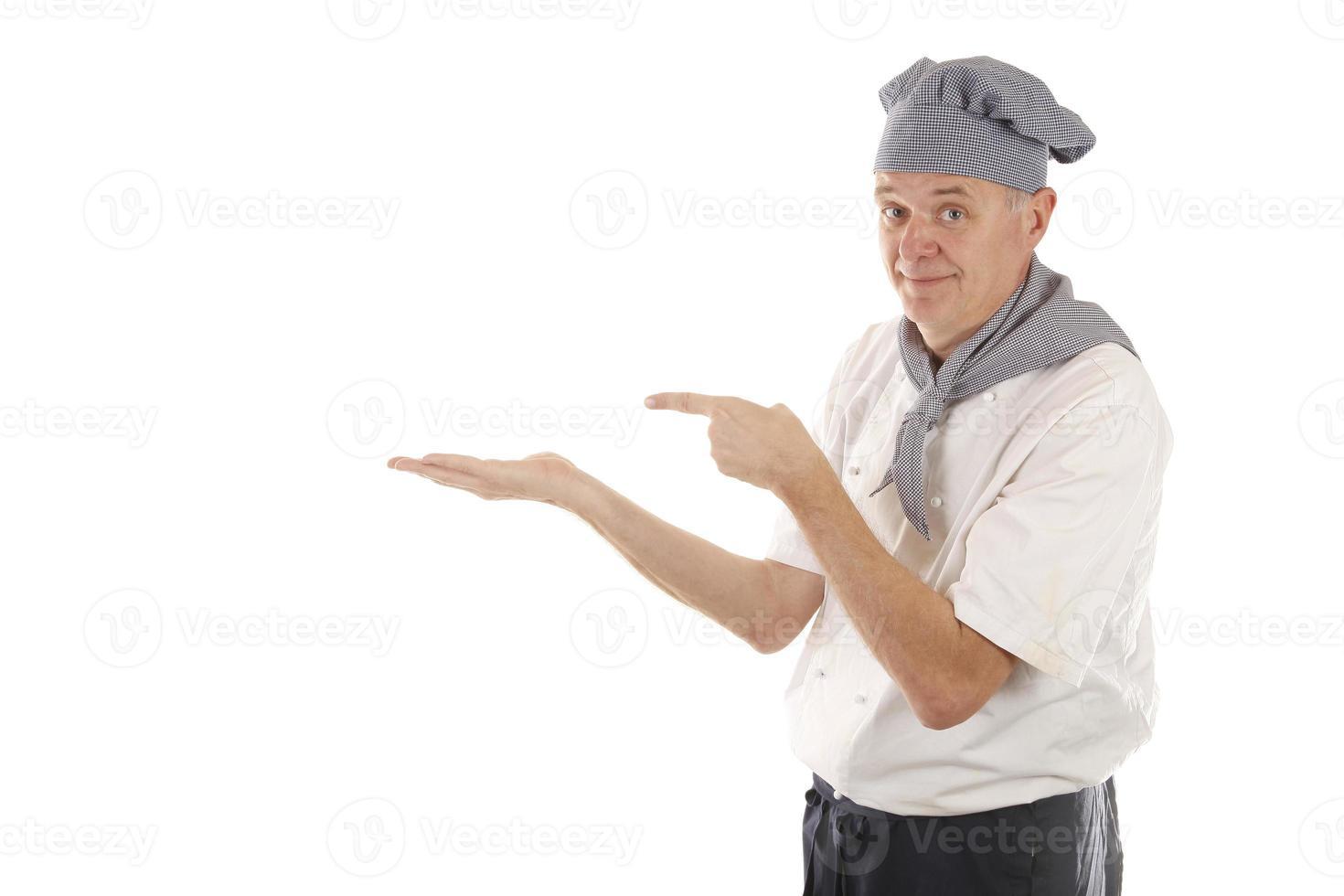 cuoco chef sta raccomandando qualcosa foto