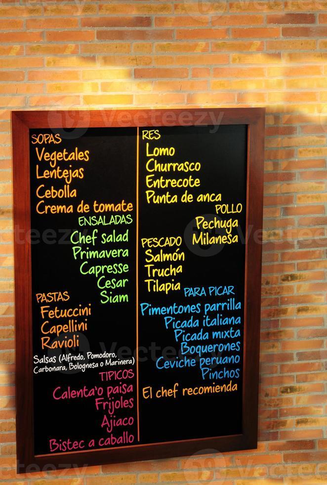 scheda menu. foto