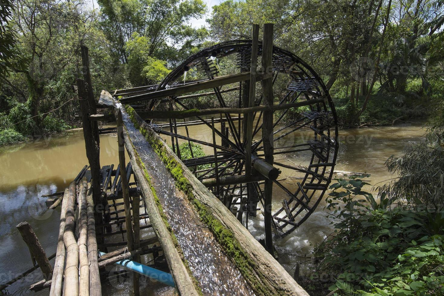 ruota idraulica di bambù, ruota idraulica foto