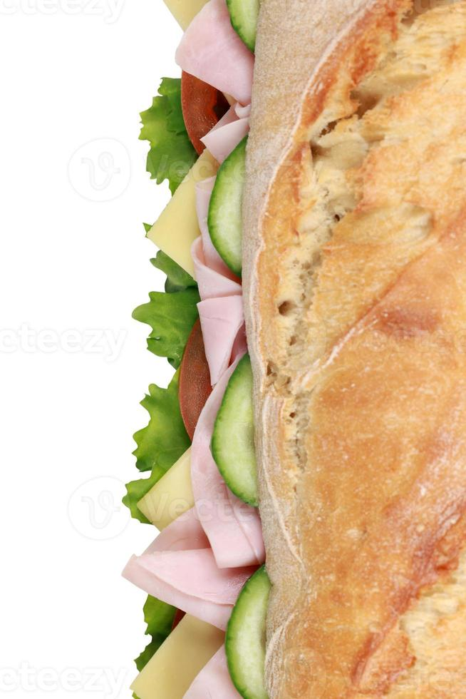 baguette con prosciutto dall'alto foto