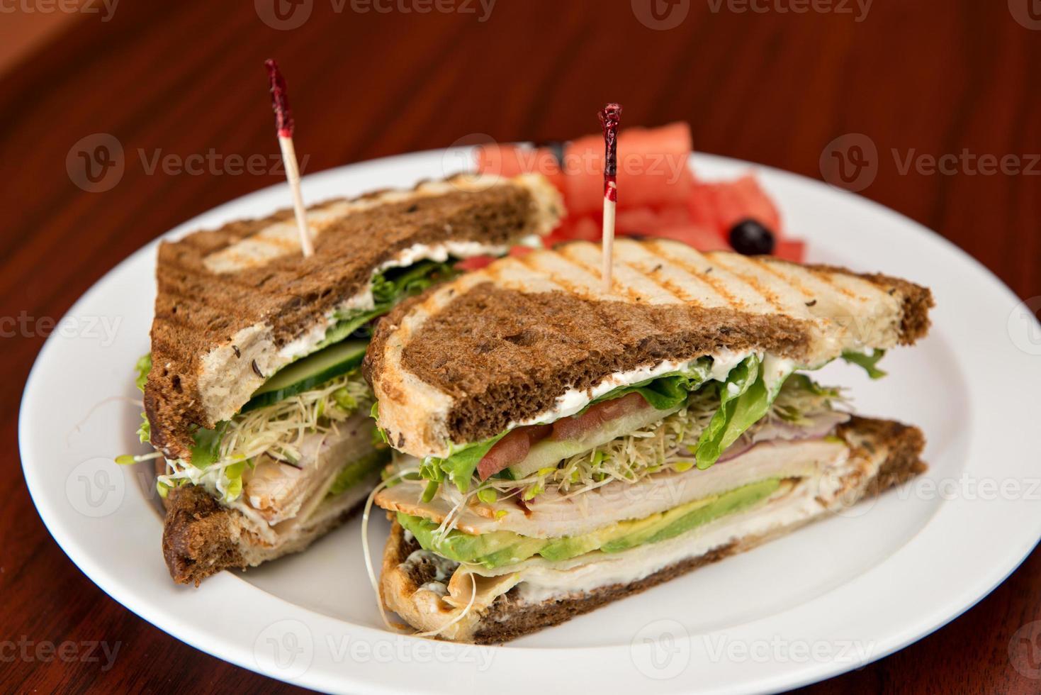 tacchino su sandwich di segale foto