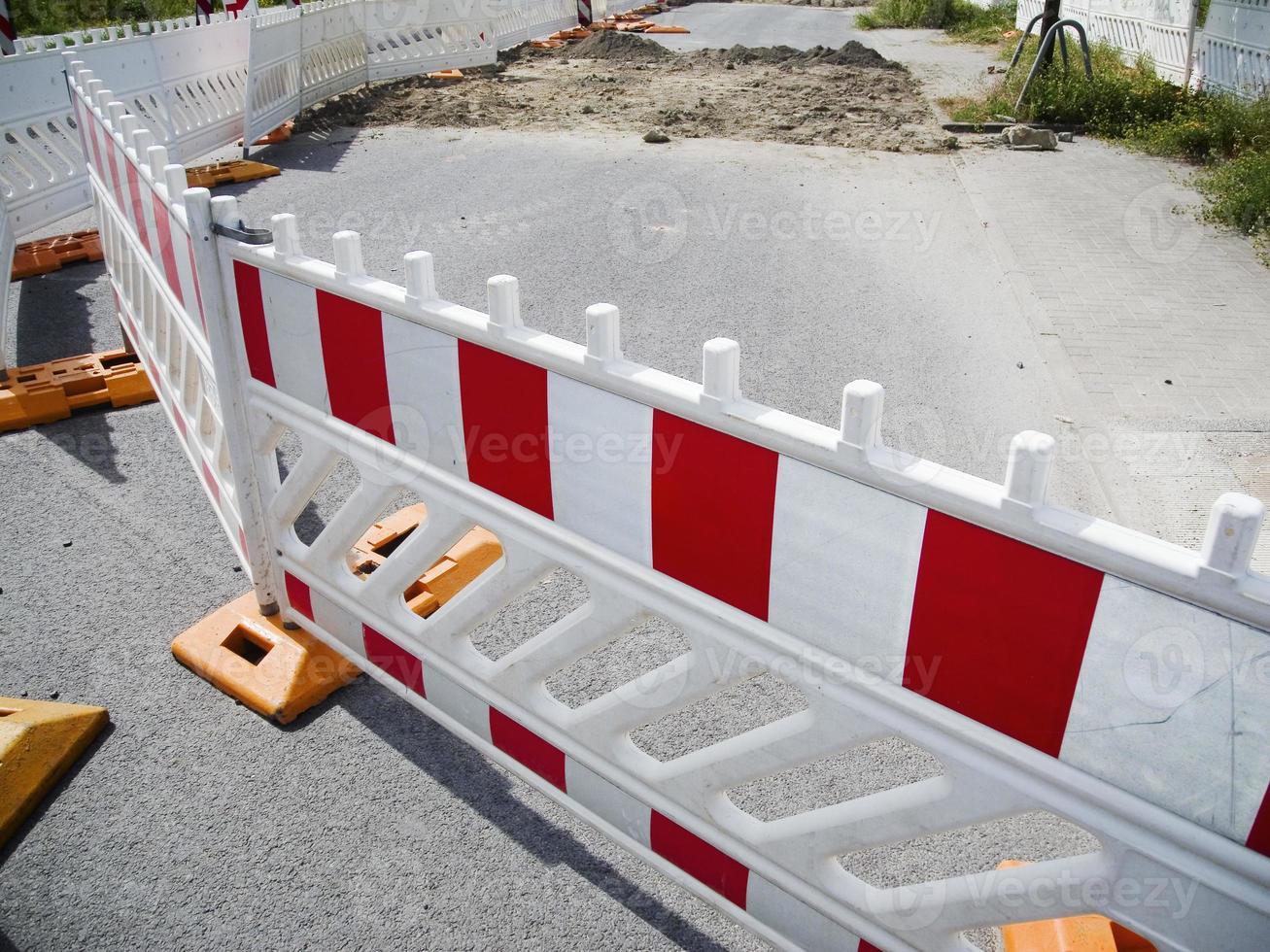 recinzione del cantiere per lavori stradali foto