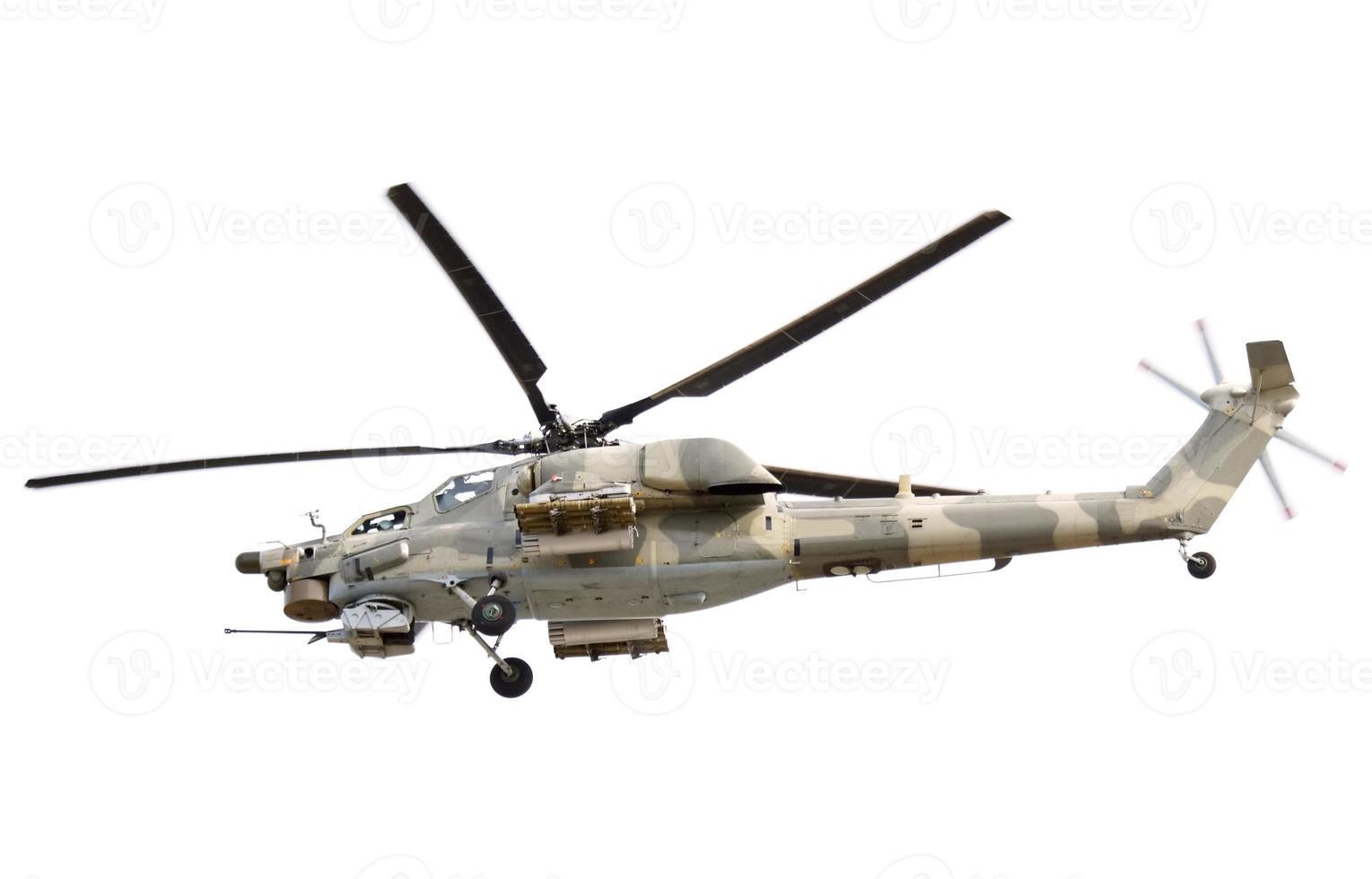 elicottero militare volante su priorità bassa bianca foto