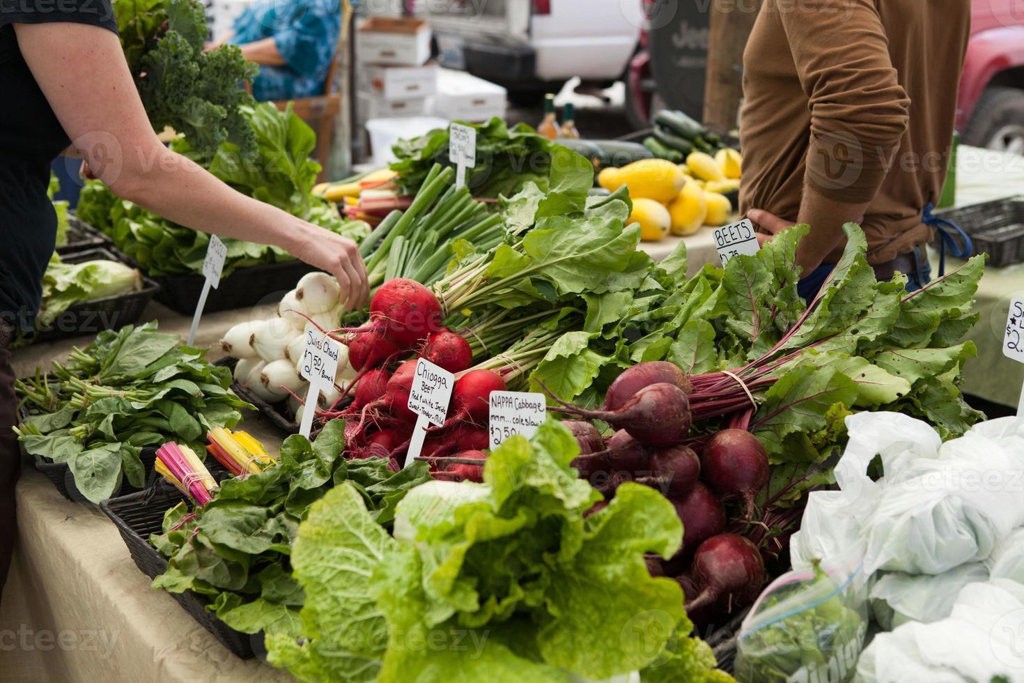 fare shopping nel mercato degli agricoltori locali. foto