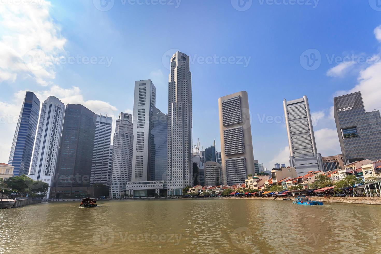 vista sullo skyline della città di Singapore a marina bay foto