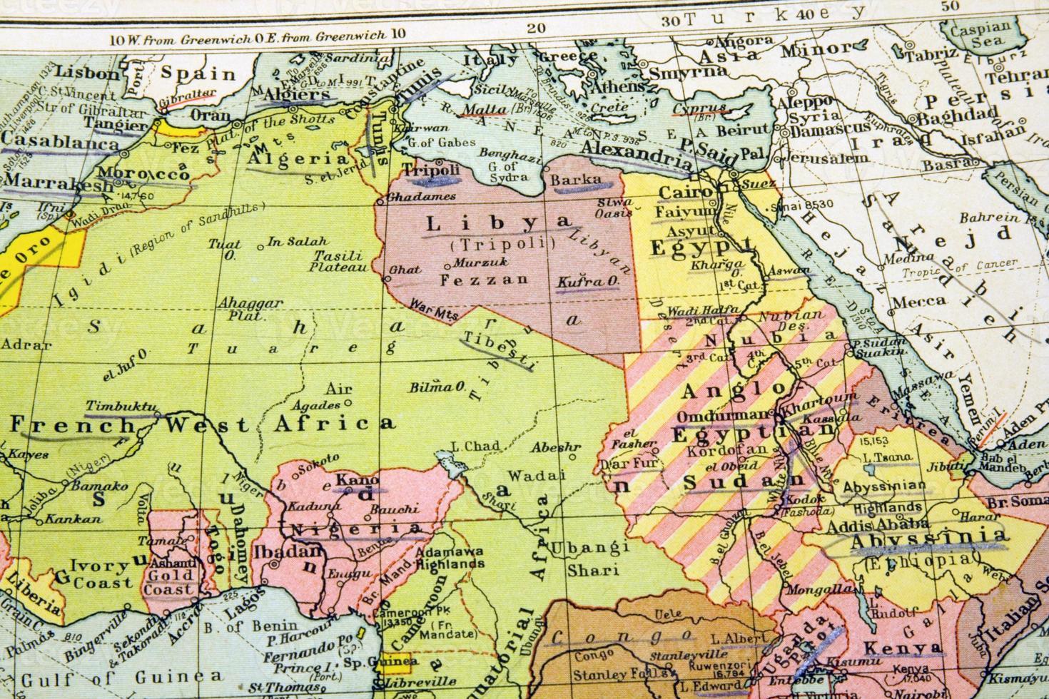 vecchia mappa del nord africa - egitto foto