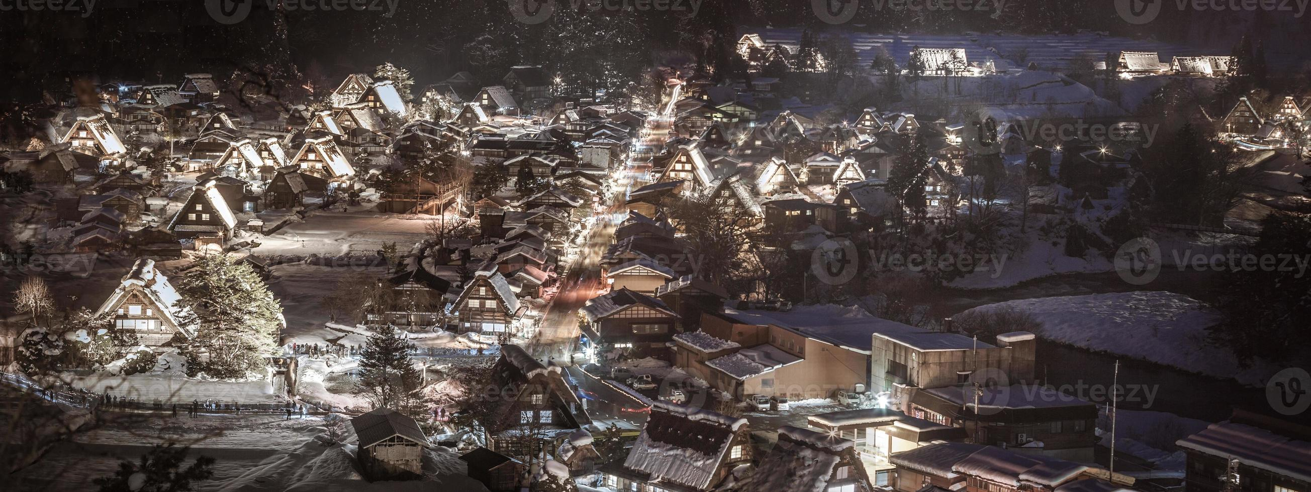 shirakawa-go-light-up invernale foto