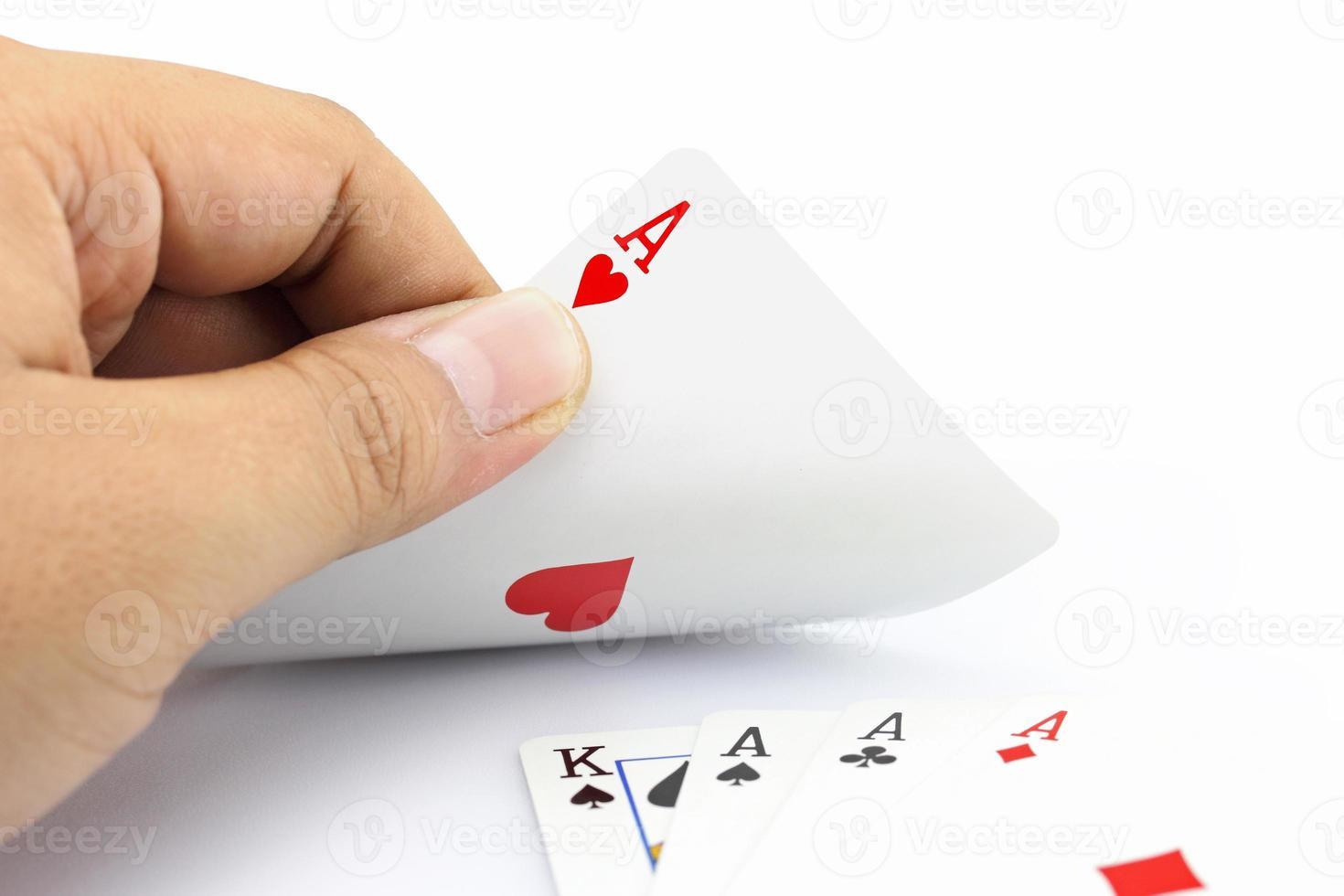 asso di cuore nel poker foto