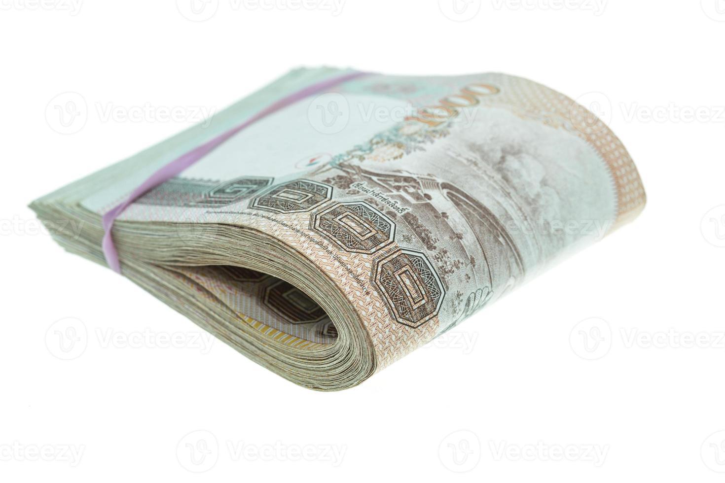 vicino soldi tailandesi in mille tipi di banconote foto