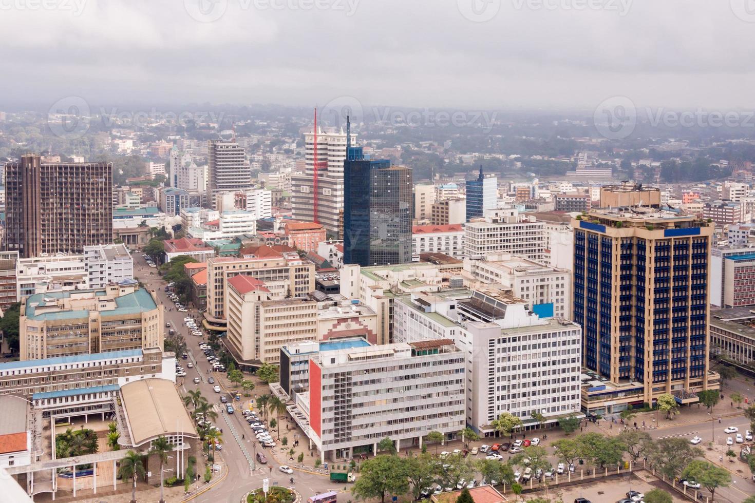 vista sul quartiere centrale degli affari di nairobi foto