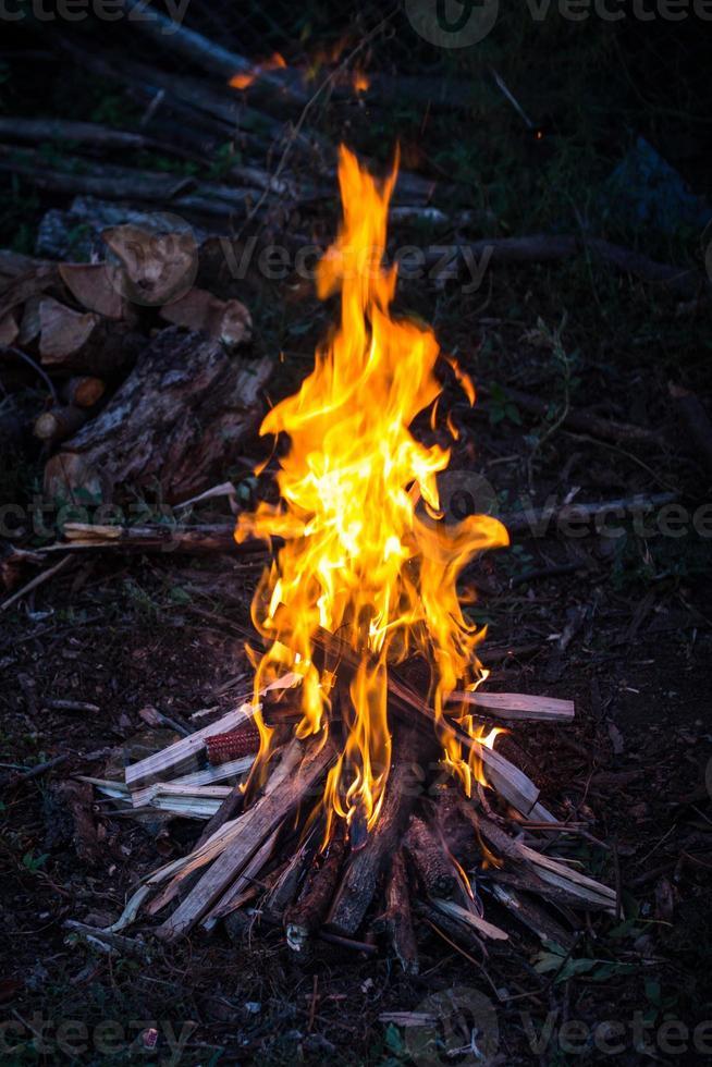 fuoco da campo al tramonto foto