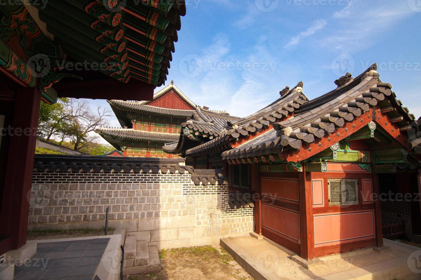 case tradizionali coreane nel palazzo di changdeokgung a Seoul, Corea foto