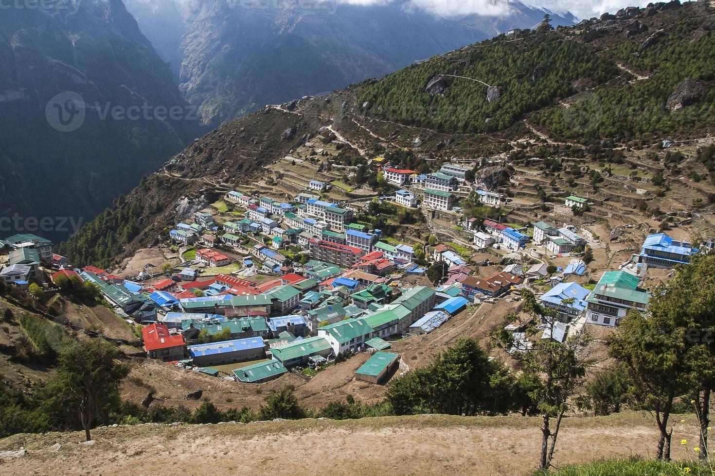 vista del namche bazaar foto