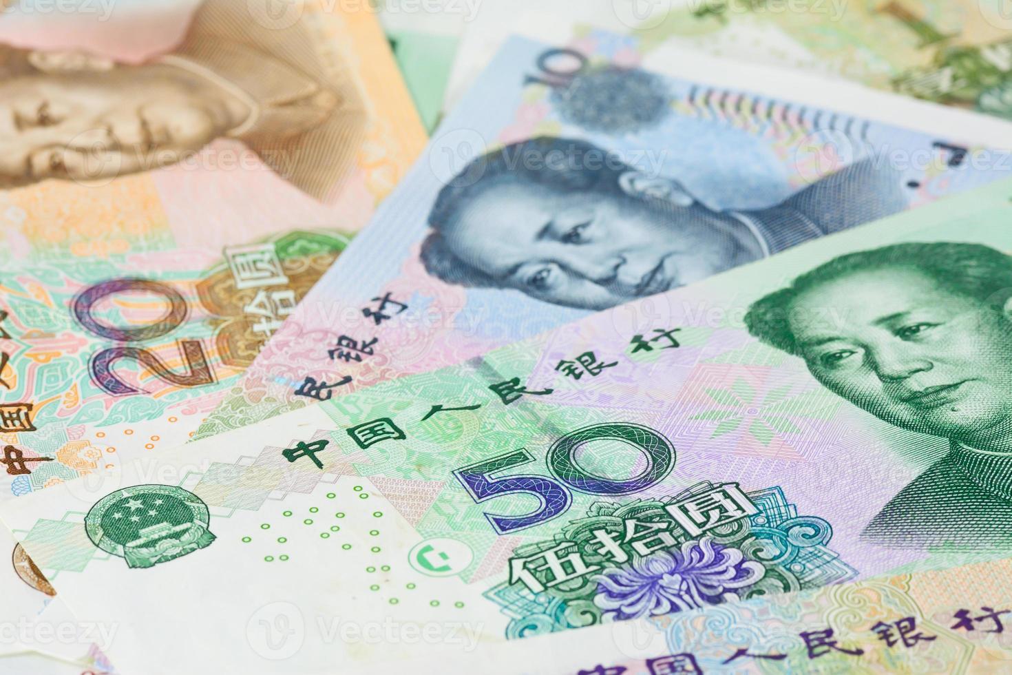 banconote yuan cinese (renminbi), per concetti di denaro foto