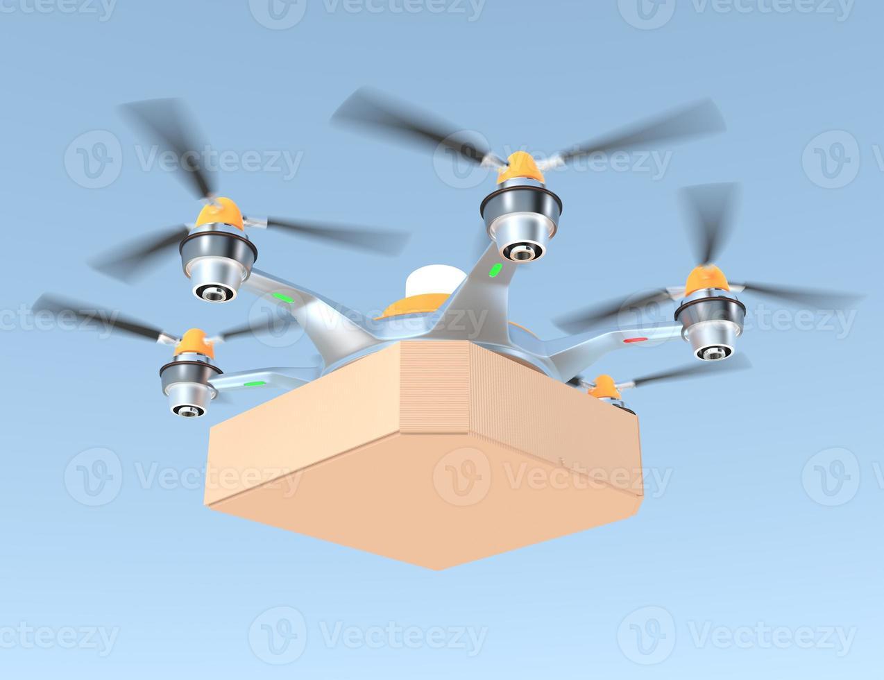 drone ad aria che trasporta singola scatola per pizza con spazio di copia foto