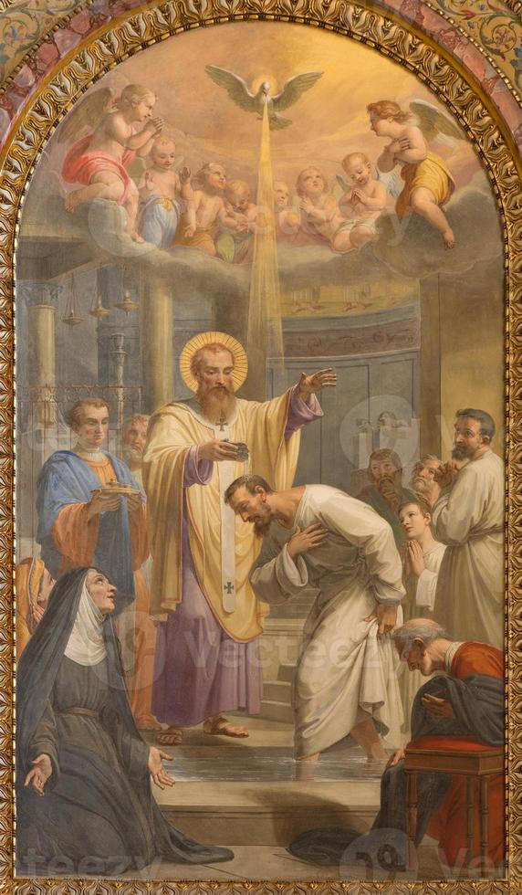 roma - il battesimo di st. augustine ad hl. ambrose foto