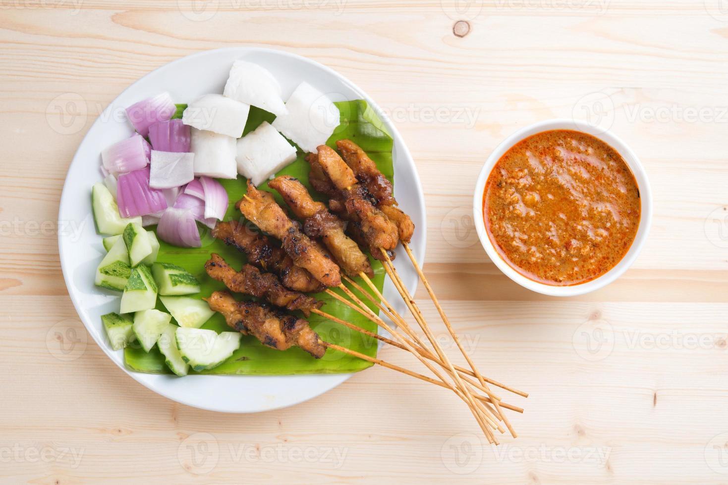 pollo gourmet asiatico satay foto