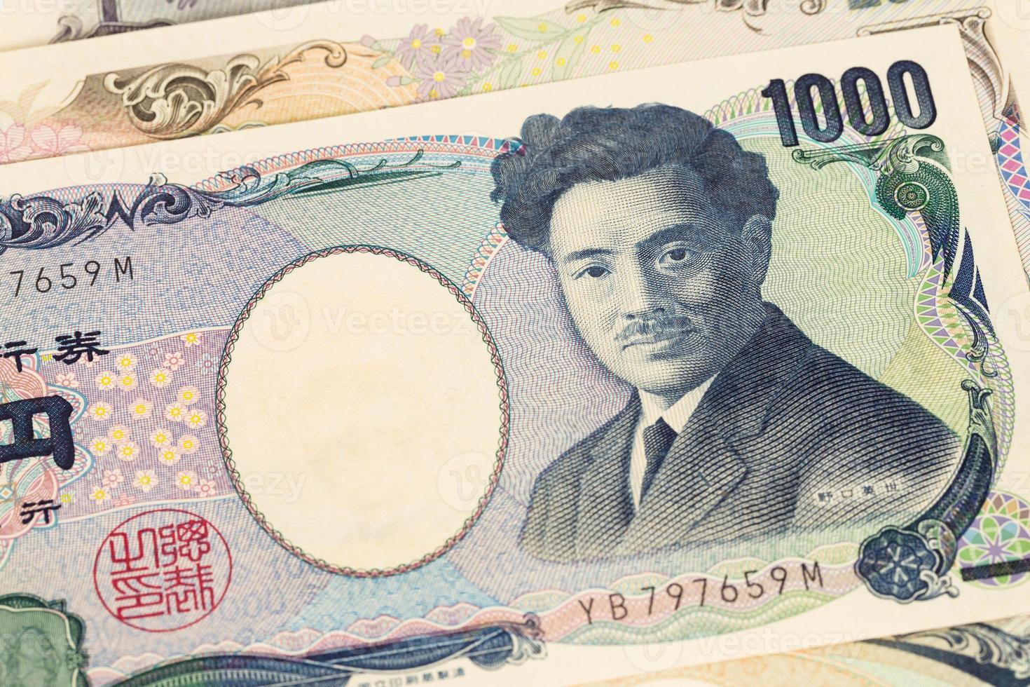 primo piano delle banconote di yen di soldi giapponesi foto
