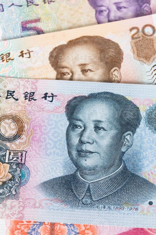 primo piano cinese delle banconote dei soldi yuan foto